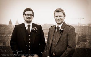 Wedding Photography Scotland Groomsman Standing at the Edinburgh Castle