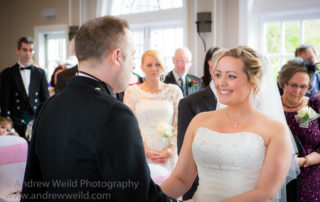 Wedding Photography Scotland Groom and Bride Looking at each Other in Barony Castle