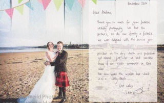 Thank for note for Andrew from the Happy Newlyweds Wedding Photography Scotland