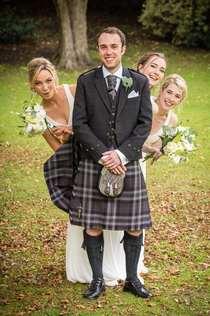 Wedding Photography Edinburgh groom and bridesmaids