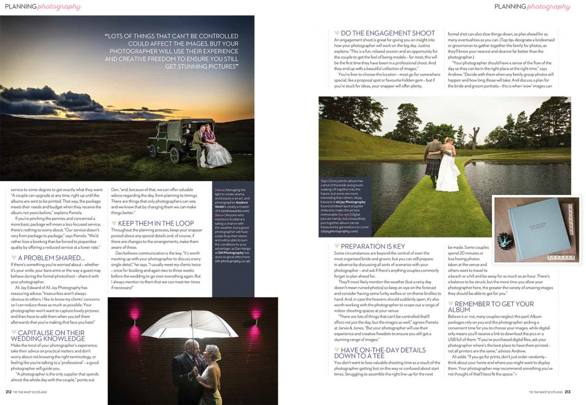 Tie The Knot Scotland wedding photography advice page 3-4